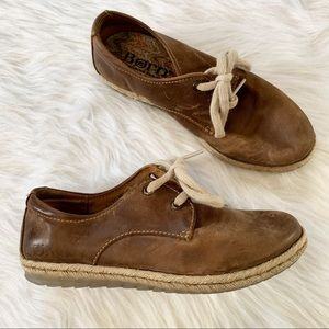 Born Brown Leather Espadrille Sneakers